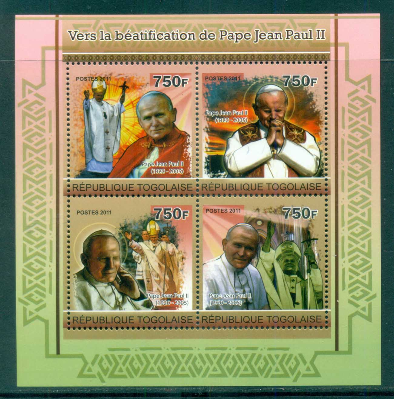 Togo 2011 Famous People, Popes, John Paul II MS MUH TG11209a