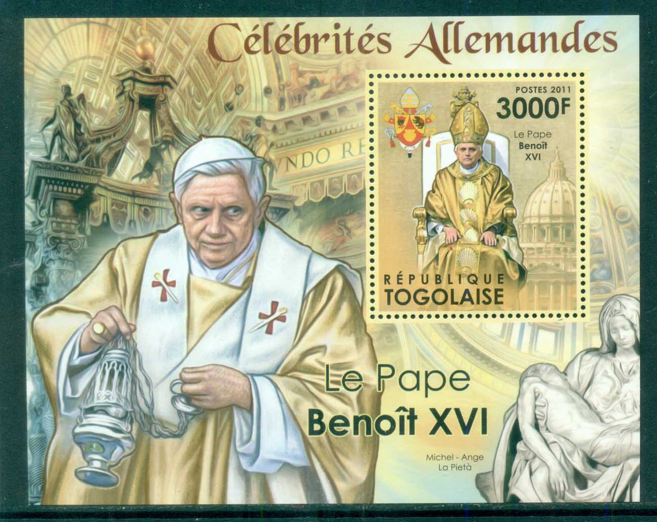 Togo 2011 Famous People, Popes, Benedict XVI MS MUH TG12215b