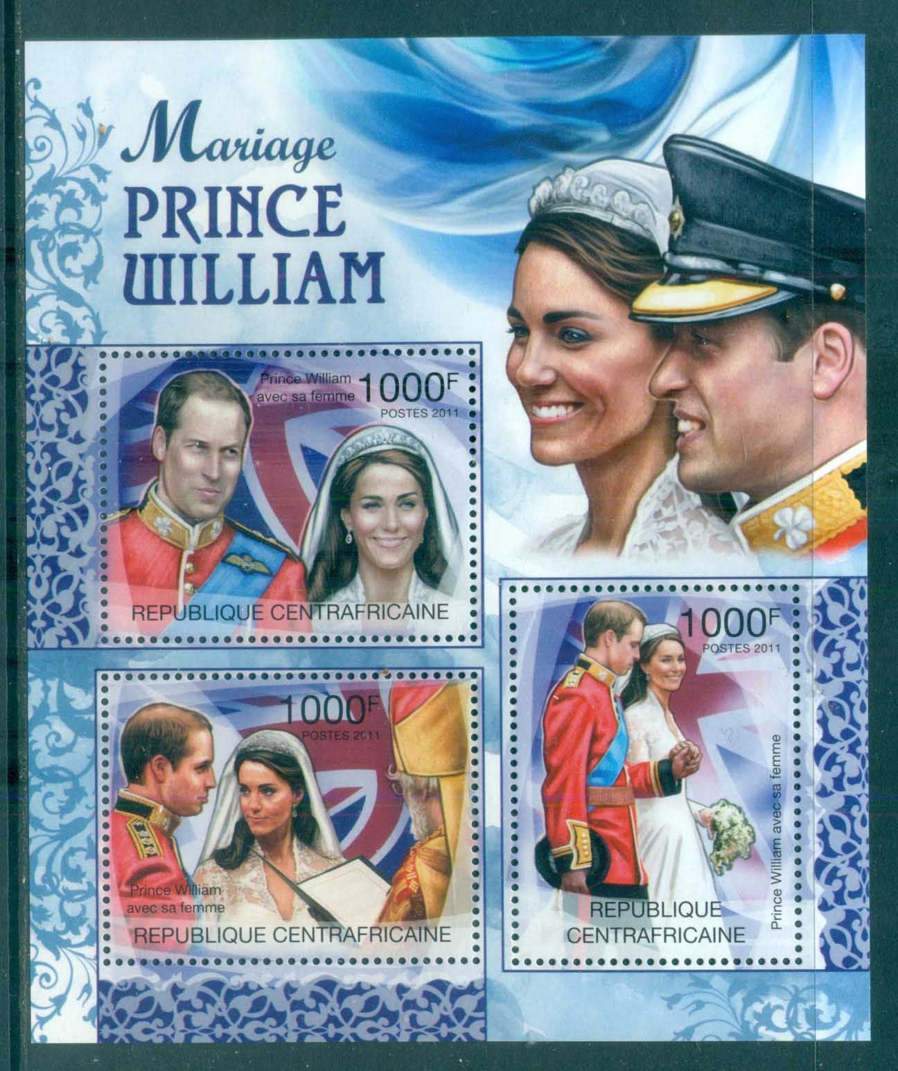 Central African Republic 2011 Famous People, Royalty, William & Kate MS MUH CA11303a