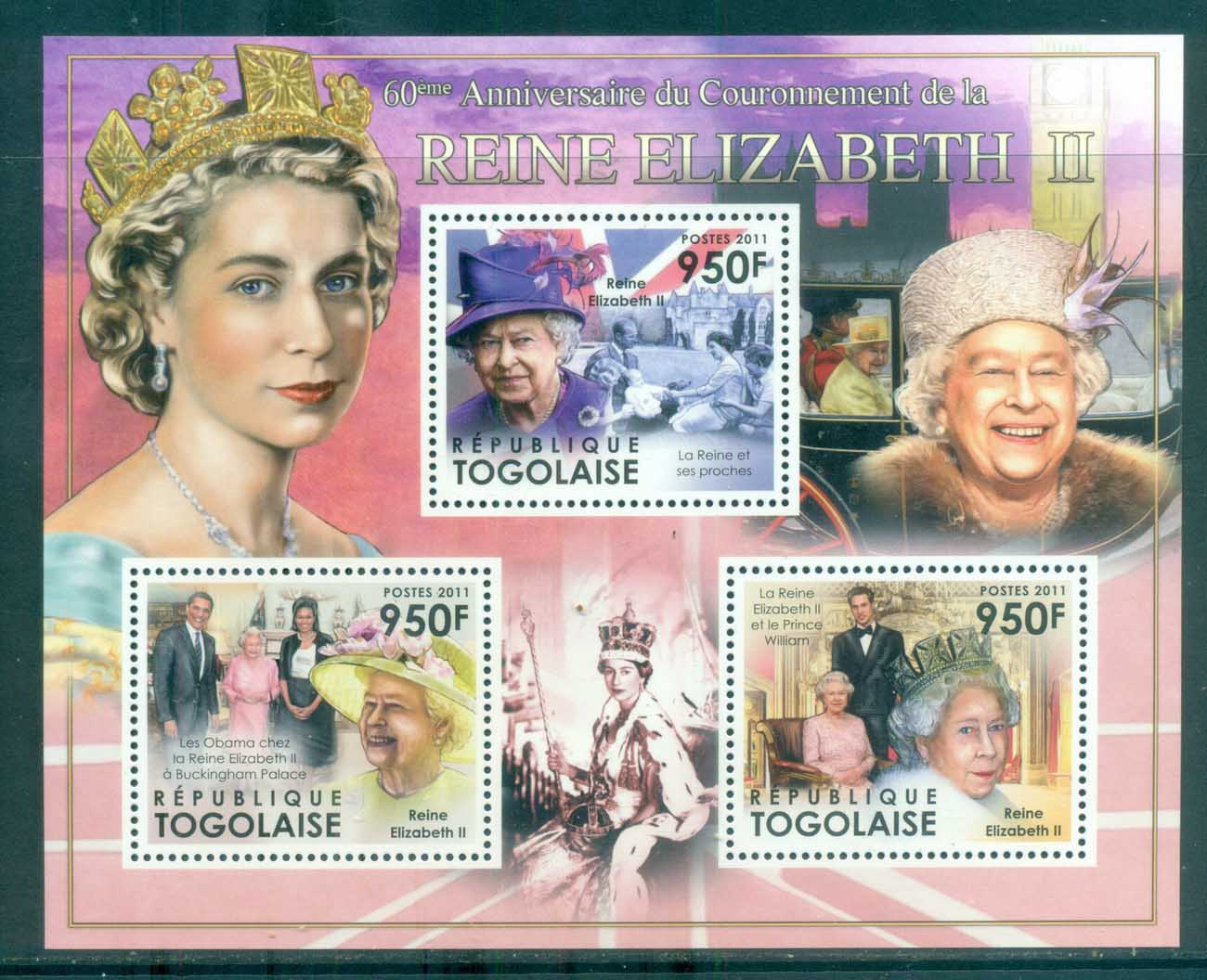 Togo 2011 Famous People, Royalty, QEII, MS MUH TG11507a
