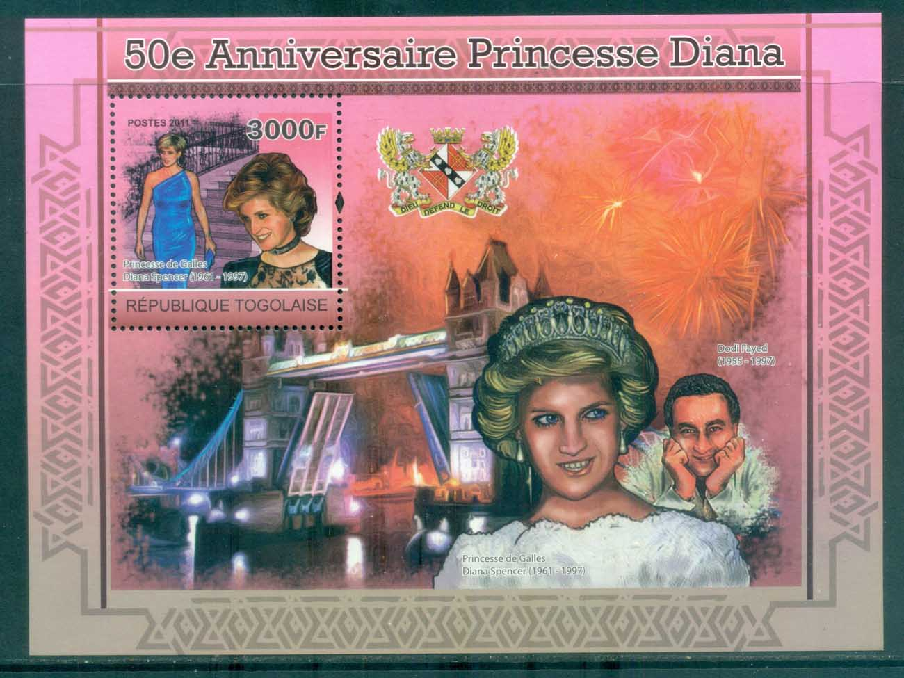 Togo 2011 Famous People, Royalty, Diana MS MUH TG11214b