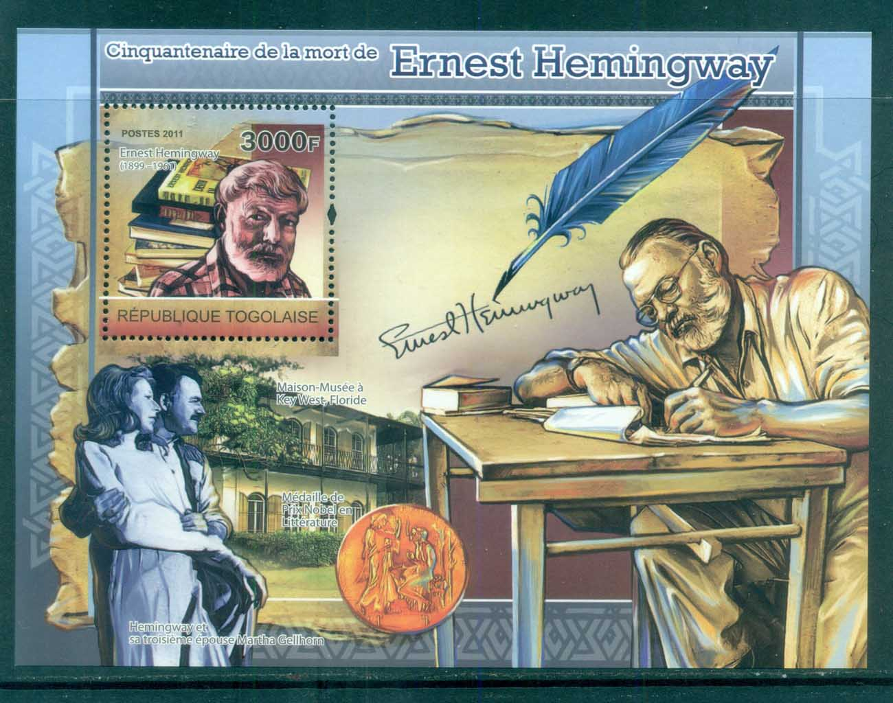 Togo 2011 Famous People, Ernest Hemmingway MS MUH TG11204b