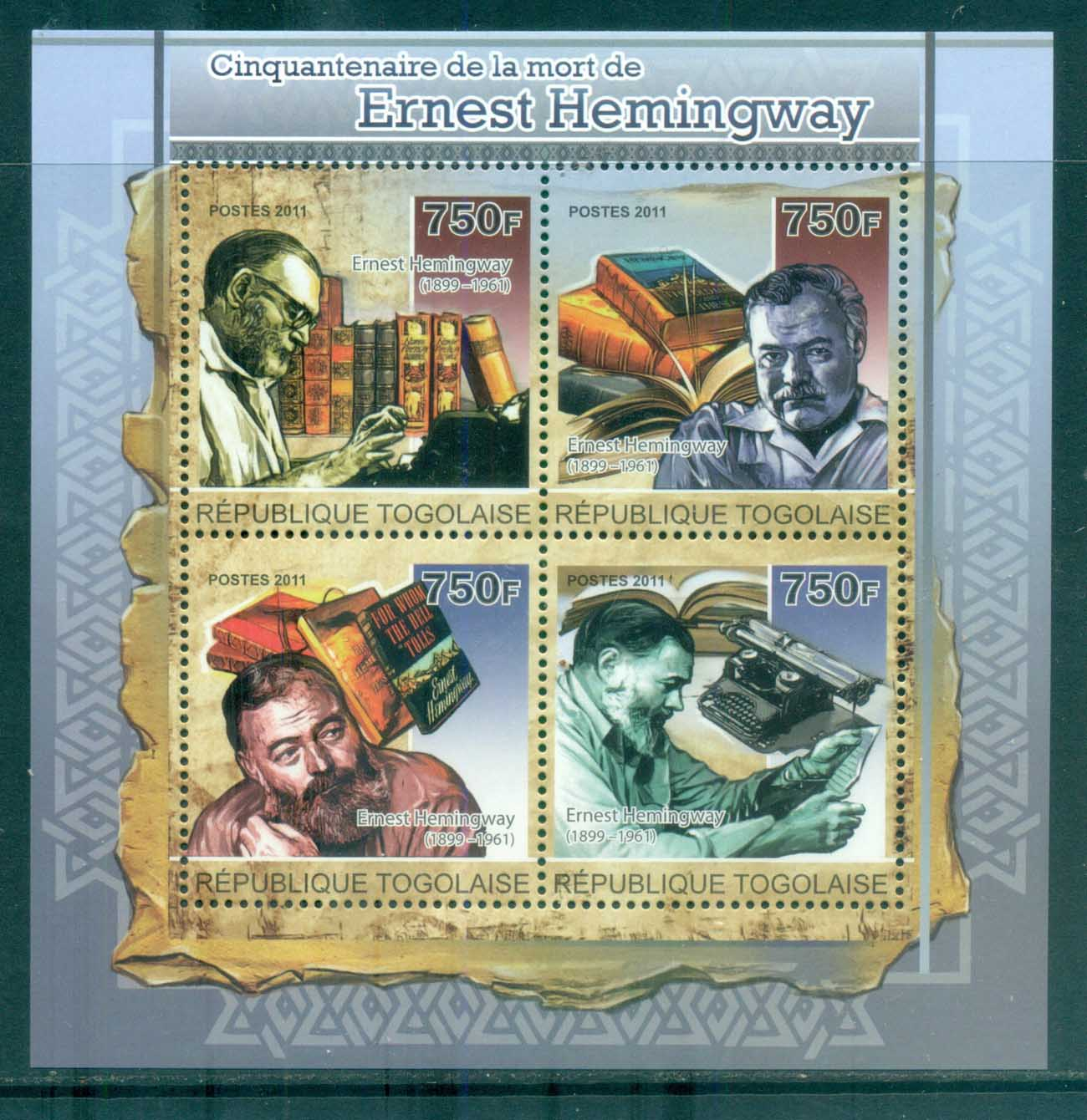 Togo 2011 Famous People, Ernest Hemmingway MS MUH TG11204a