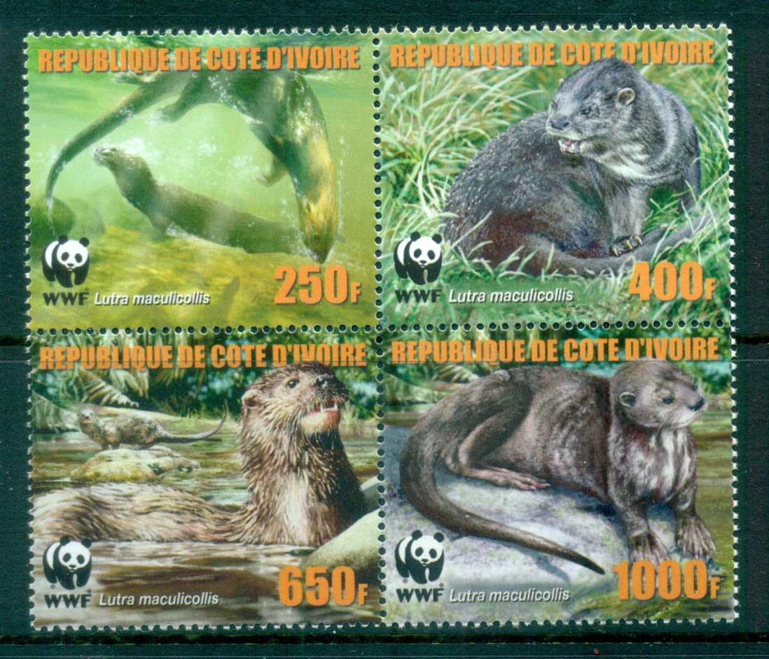 Ivory Coast 2005 WWF Speckle Throated Otter Blk 4 MUH lot76222