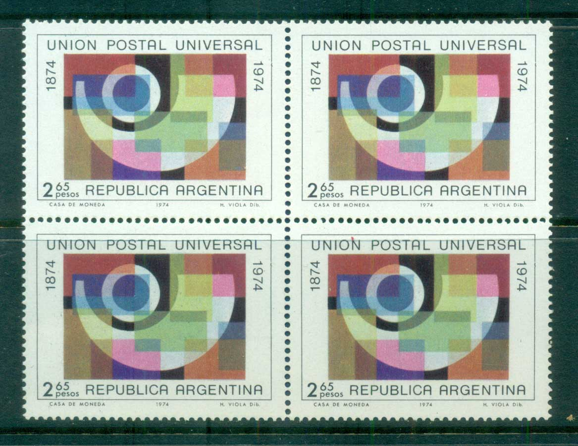 Argentina 1974 Centenary of UPU Blk 4 MUH lot76357