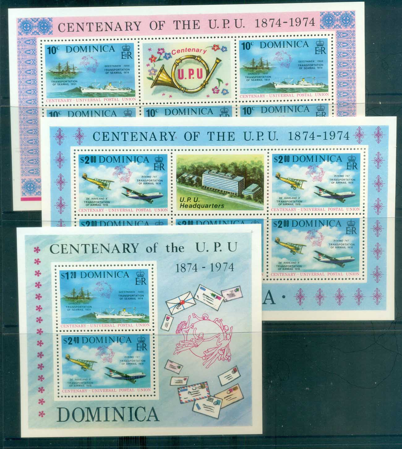 Dominica 1974 Centenary of UPU 3xMS MUH lot76369