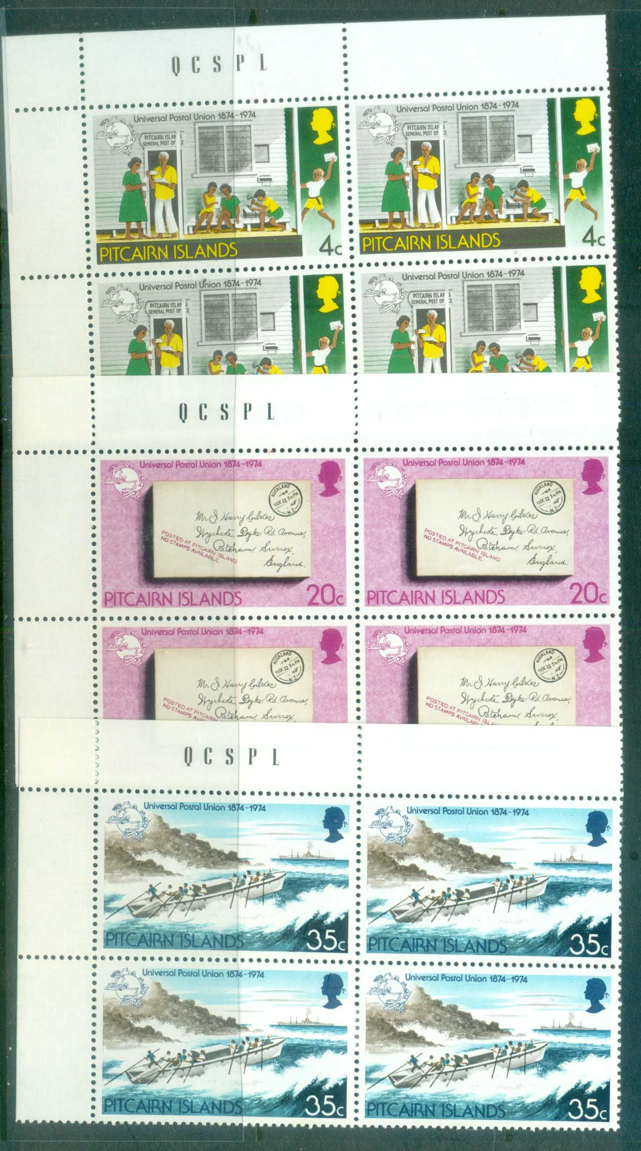 Pitcairn Is 1974 Centenary of UPU Blk 4 MUH lot76380