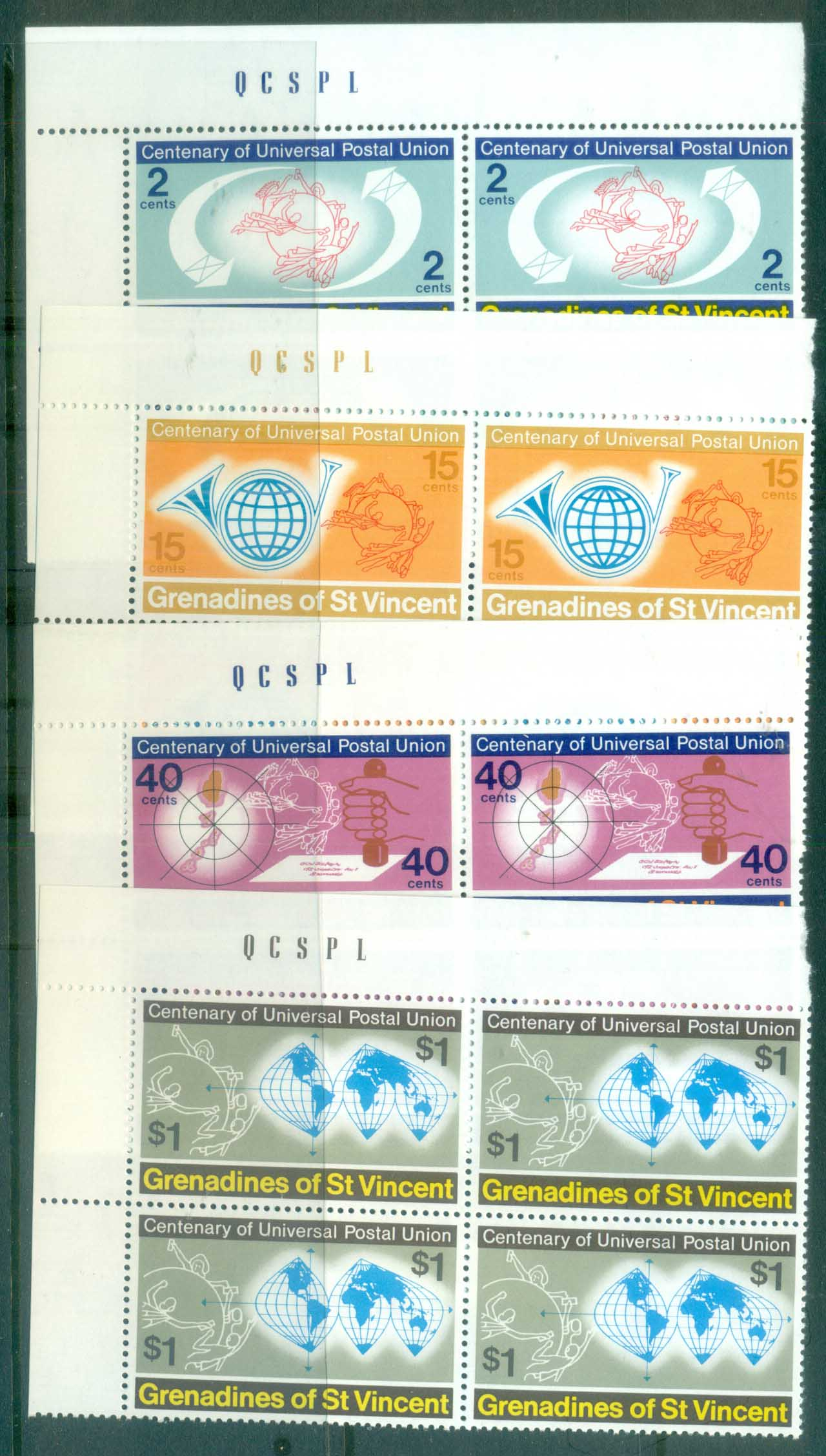 St Vincent Grenadines 1974 Centenary of UPU Blk 4 MUH lot76381