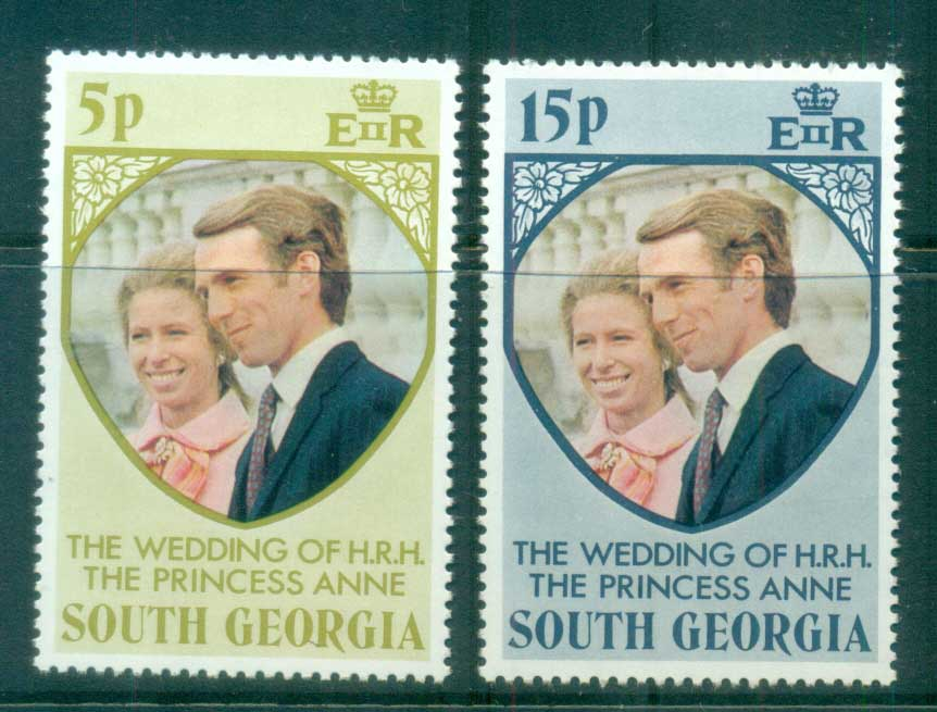 South Georgia 1973 Princess Anne Royal Wedding MUH lot76435