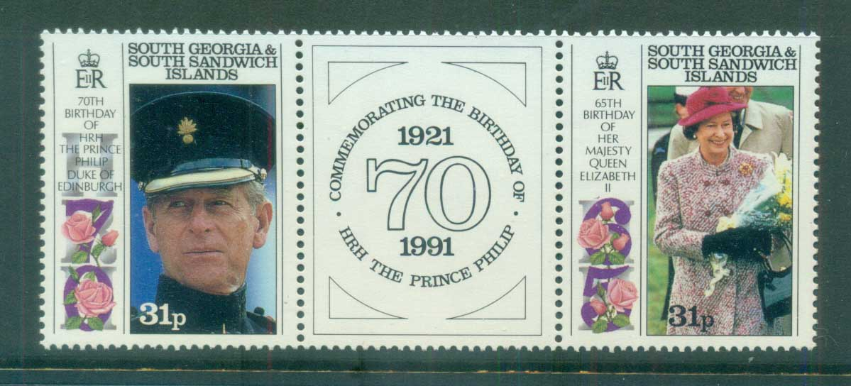 South Georgia 1991 QEII & Prince Phillip Royal Birthday's pr + label MUH lot76444