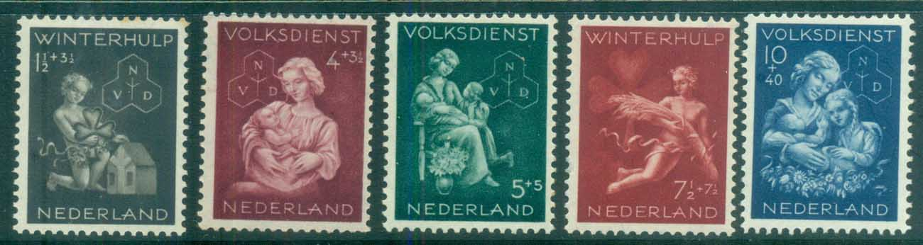 Netherlands 1944 Charity, National Social Service & Winter Relief (tones) MLH lot76480