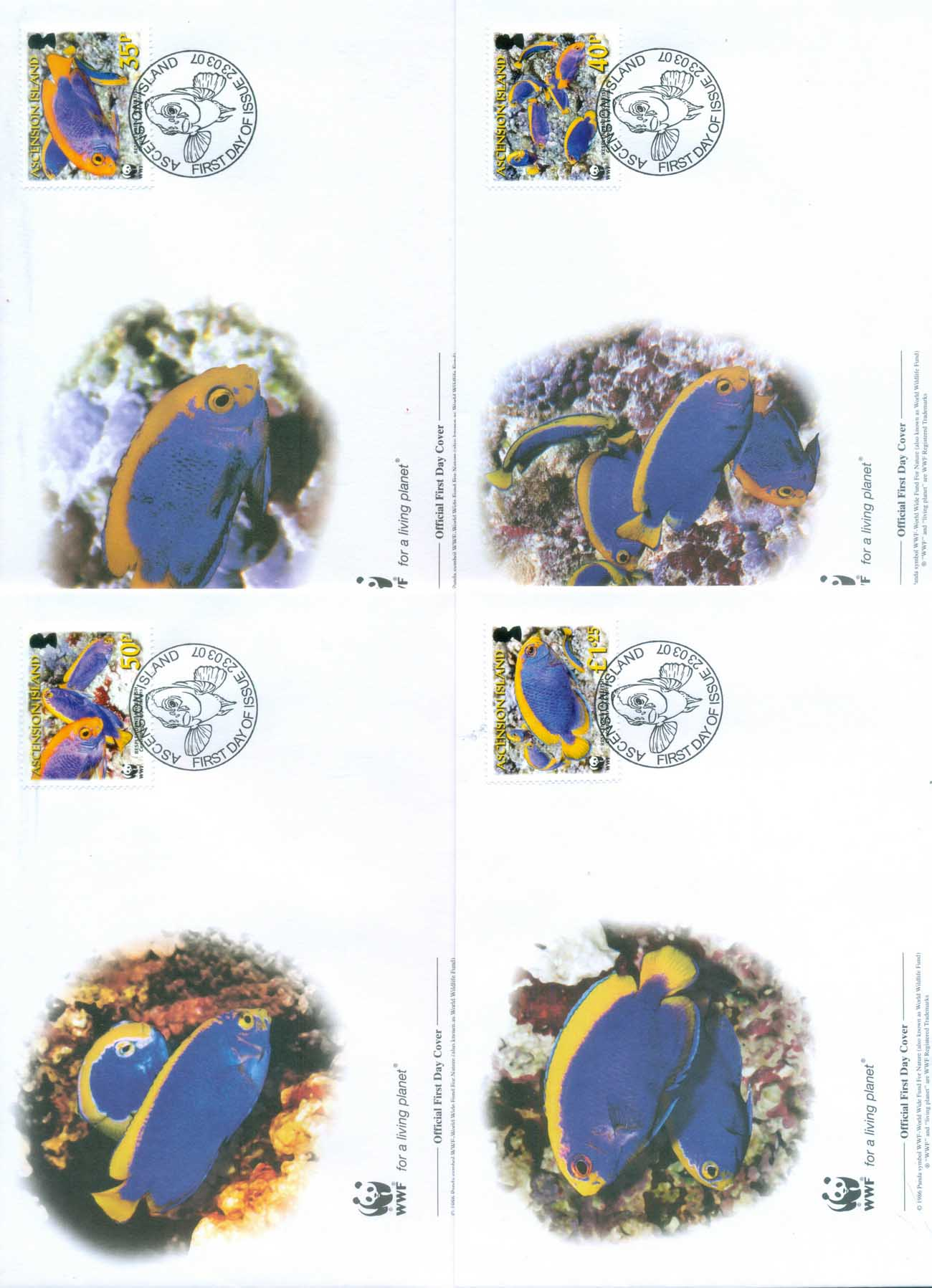 Ascension Is 2007 WWF Resplendent Angelfish 4xFDC lot77041