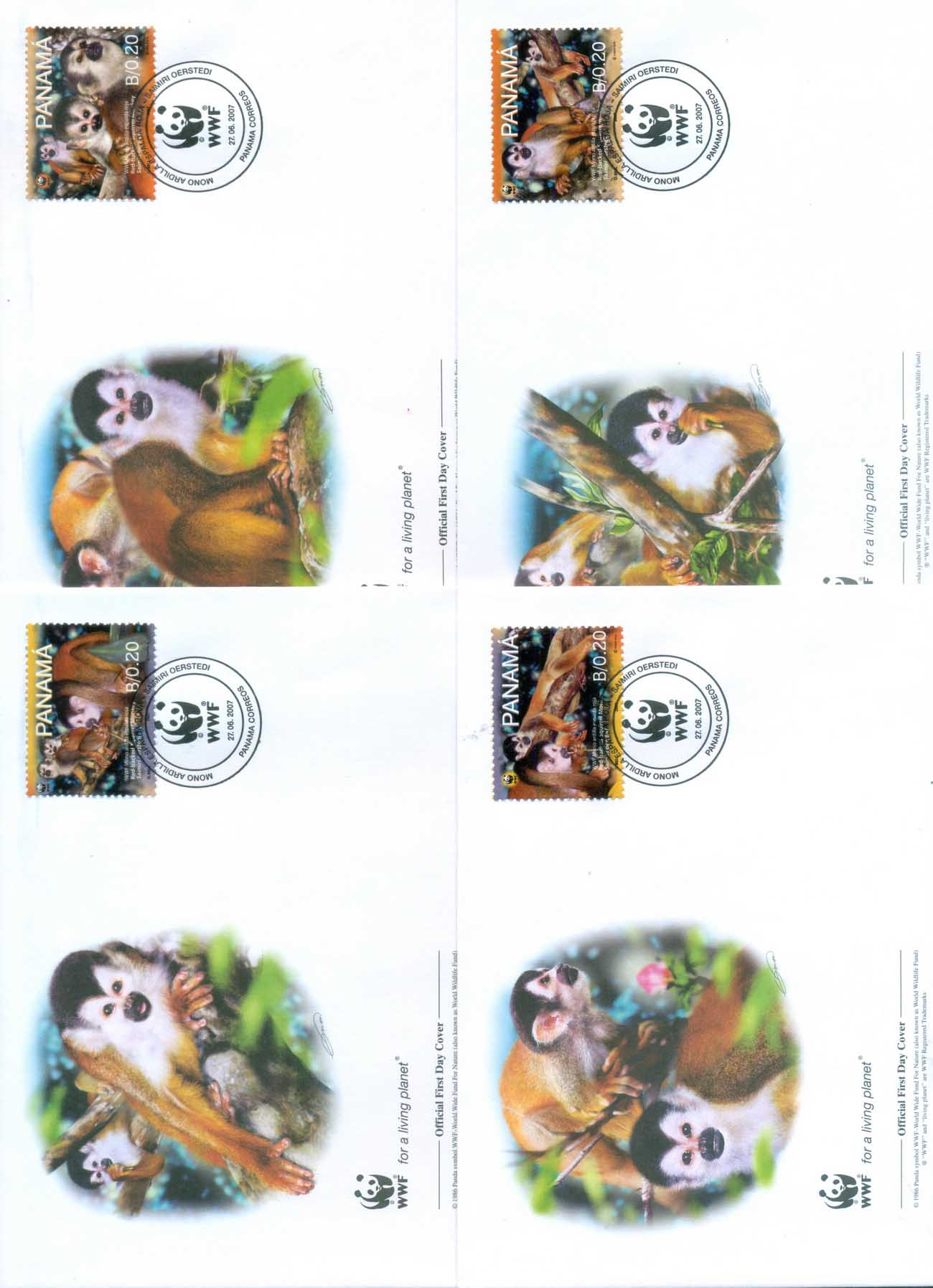 Panama 2007 WWF Red Backed Squirrel Monkey 4xFDC lot77042