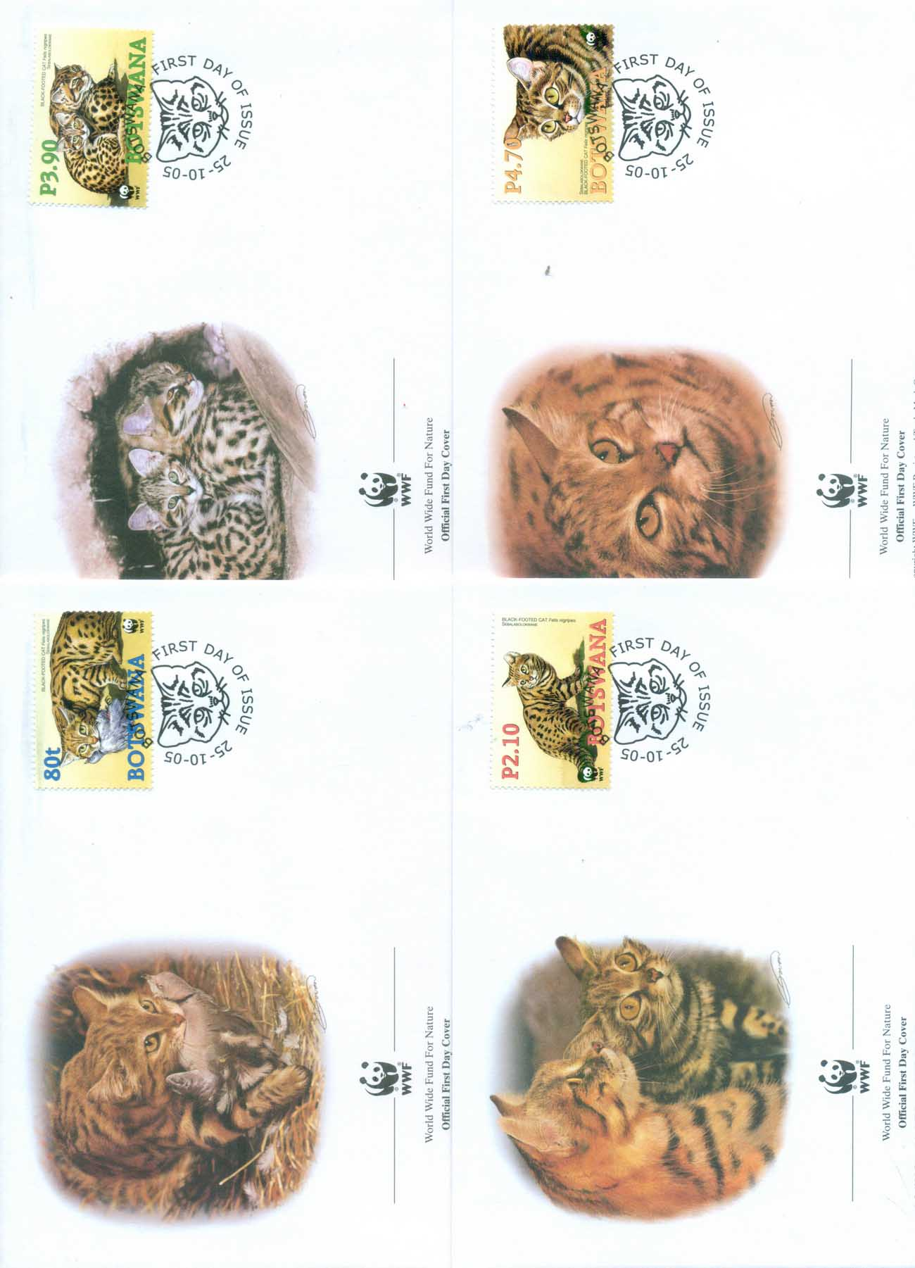 Botswana 2005 WWF Black Footed Cat 4xFDC lot77061