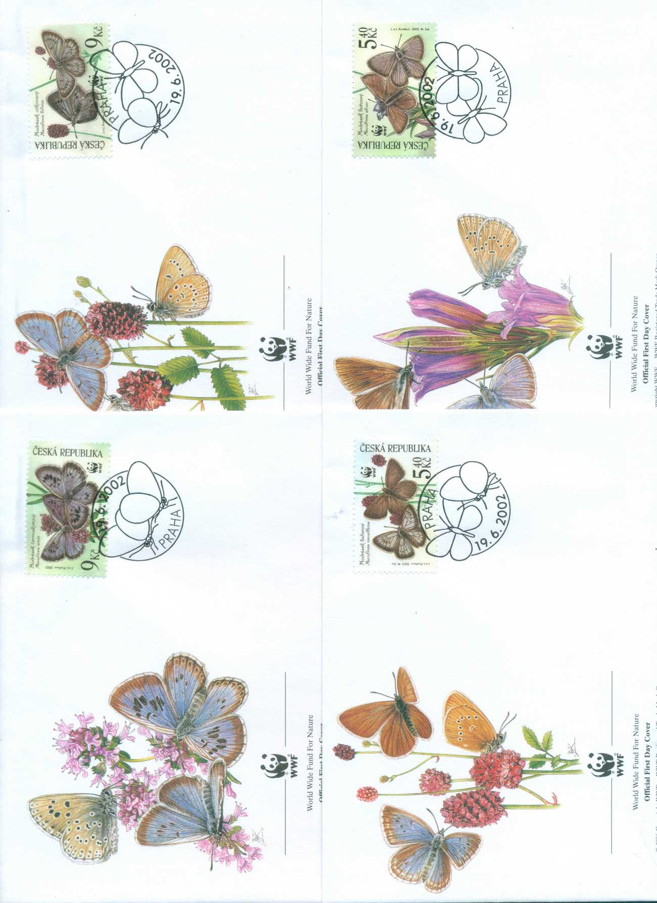 Czech Republic 2002 WWF Large Blue Butterflies4xFDC lot77077