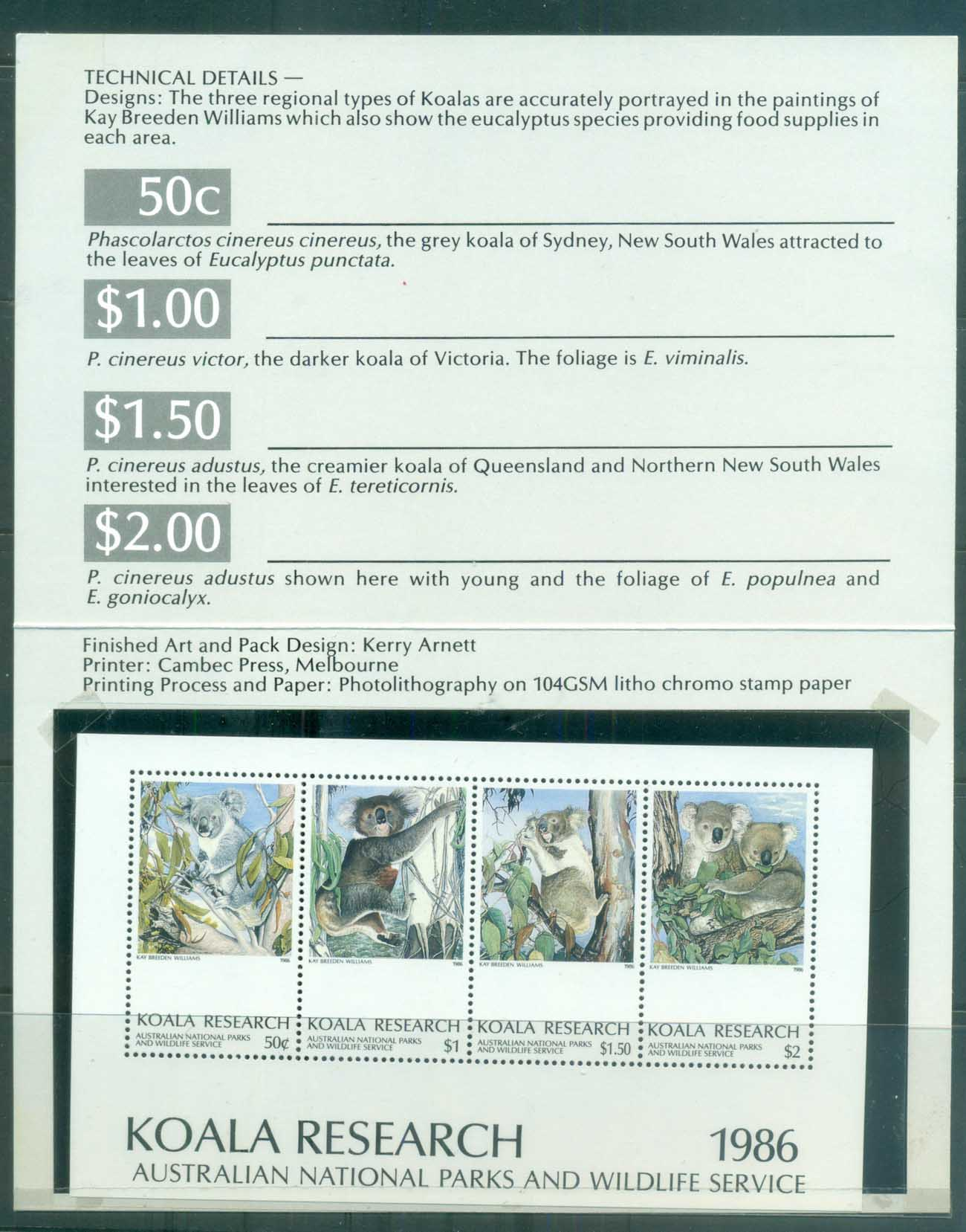Australia 1986 Koala Research MS Pk MUH lot77127