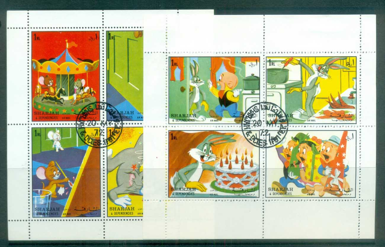 Sharjah 1972 Cartoon Characters, Disney 2x MS CTO lot77258