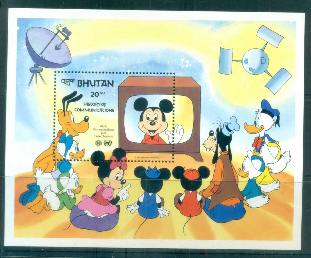 Bhutan 1983 Disney, World Communications Year, Mickey Mouse MS MUH lot77471