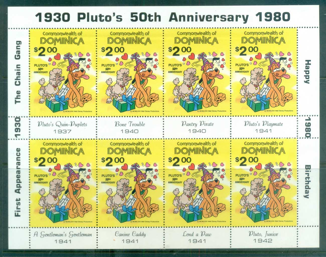 Dominica 1981 Disney, Pluto's 50th Anniv Sheetlet MUH lot77474