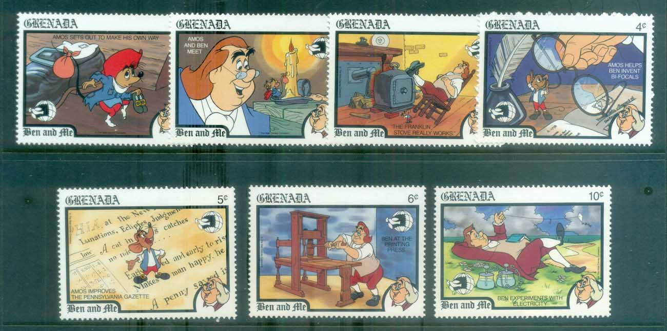 Grenada 1989 Disney, Ben & Me to 10c (7/9) MS MUH lot77475