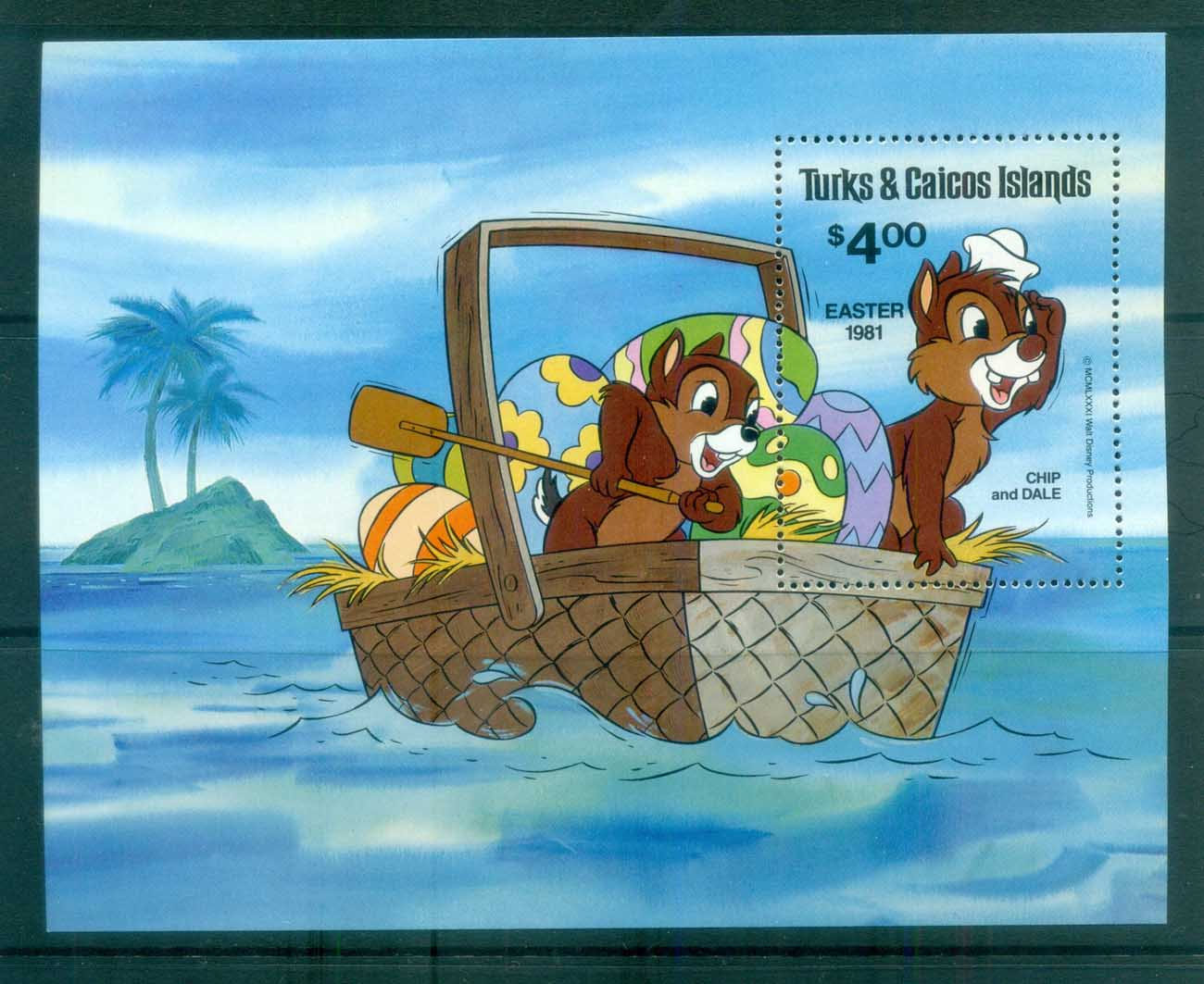 Turks & Caicos Is 1981 Disney, Easter, Chip & Dale MS MUH lot77497