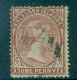 Falkland Is 1878 QV 1d claret, thin TRC, not affecting appearance FU lot77565