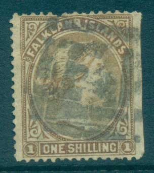 Falkland Is 1878 QV 1/- bister brown, cut RH side FU lot77568