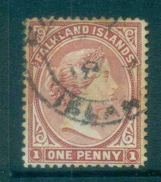 Falkland Is 1894 1d bright claret FU lot77569