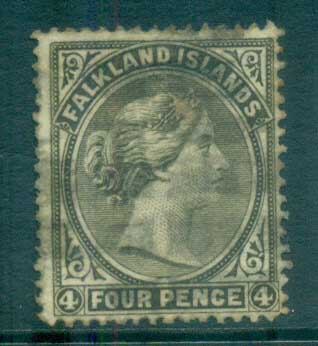 Falkland Is 1886 4d olive grey Wmk Sideways FU lot77588