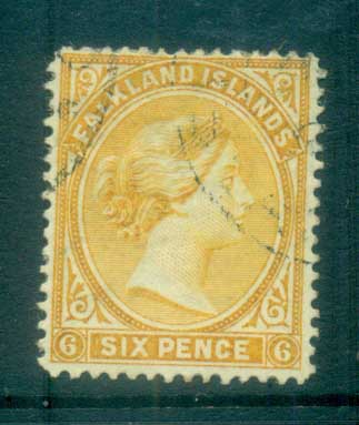Falkland Is 1891-1902 6d yellow FU lot77591