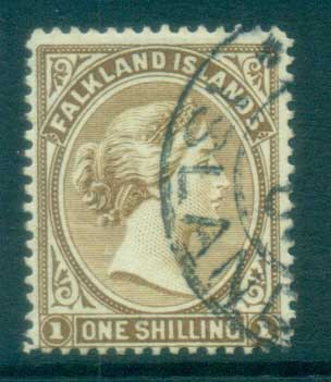 Falkland Is 1891-1902 1/- bister brown FU lot77594