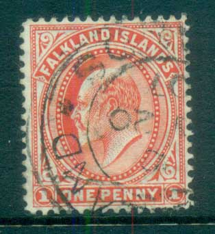 Falkland Is 1904-07 KEVII 1d red Wmk upright FU lot77604