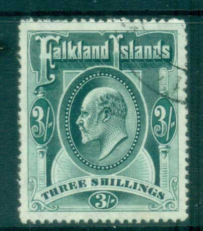 Falkland Is 1904-07 KEVII 3/- grey green FU lot77610