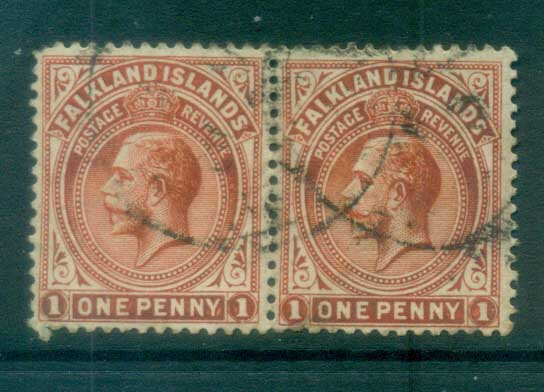 Falkland Is 1912-14 KGV 1d vermillion pr FU lot77613