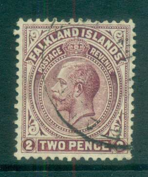 Falkland Is 1912-14 KGV 2d brown violet FU lot77619