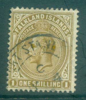 Falkland Is 1912-14 KGV 1/- bister brown FU lot77624