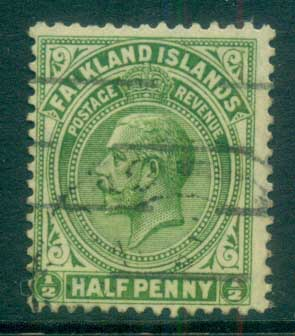 Falkland Is 1921-29 KGV 1/2d yellow green FU lot77627