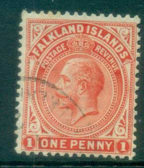 Falkland Is 1921-29 KGV 1d red FU lot77629