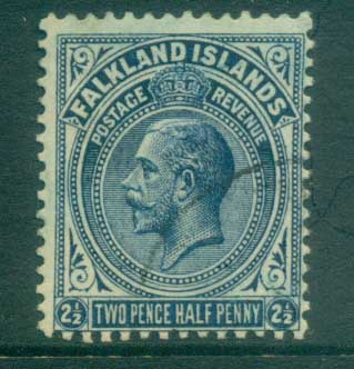 Falkland Is 1921-29 KGV 2.5d dark blue FU lot77632