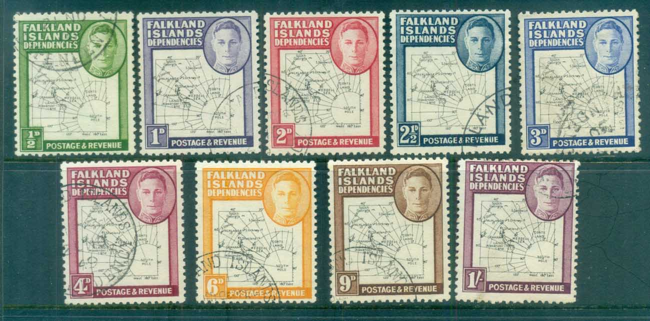 "Falkland Is Deps 1948 ""Thin Map"" FU lot77941"
