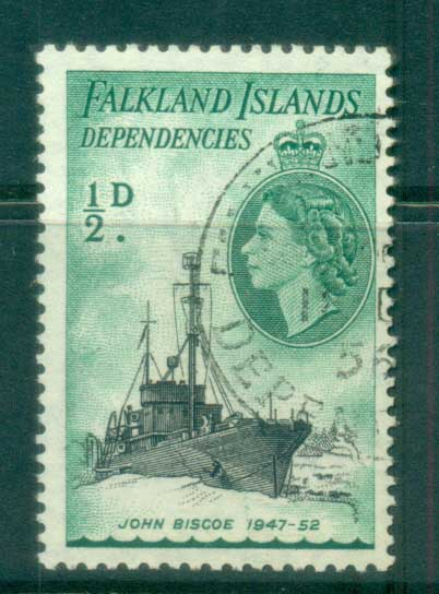 Falkland Is Deps 1954 QEII Ships 1/2d FU lot77950