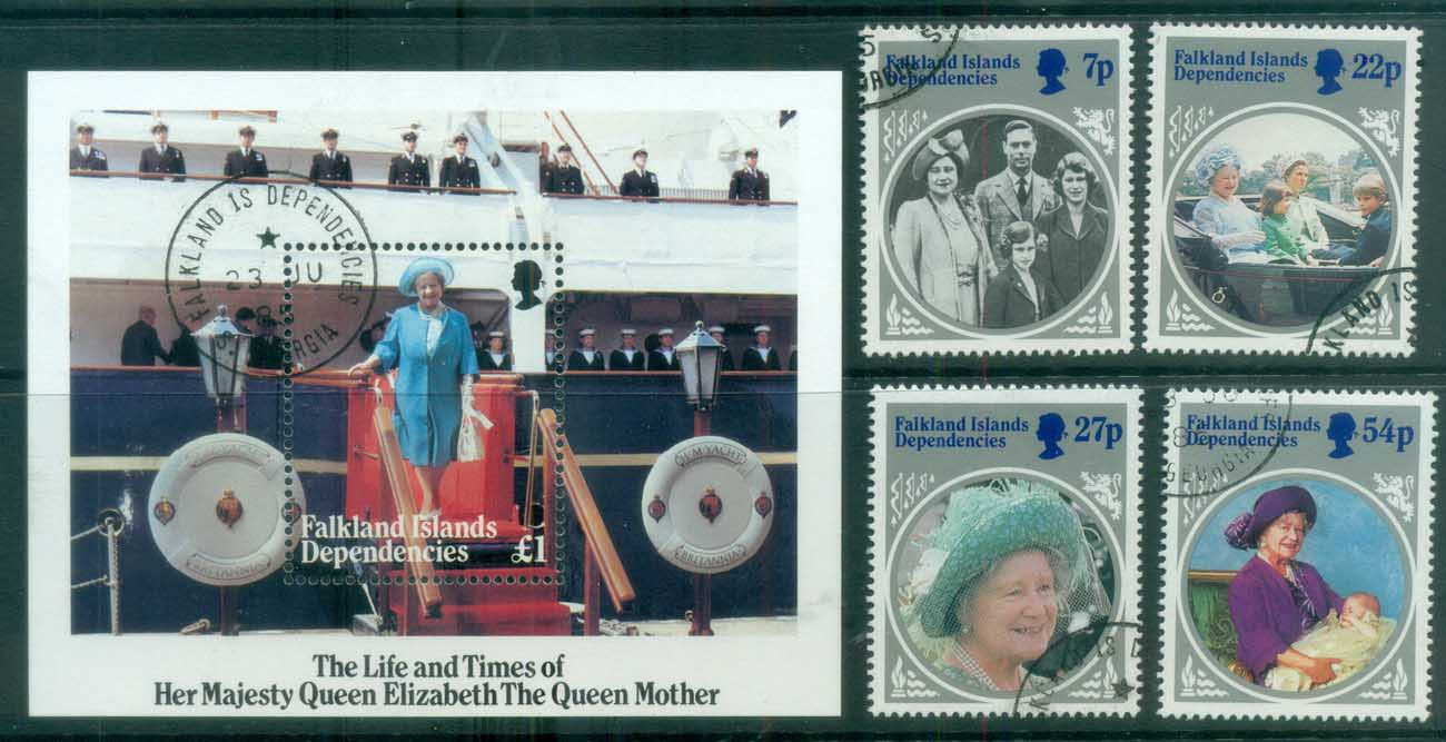 Falkland Is Deps 1985 Queen Mother 85th Birthday + MS FU lot77970