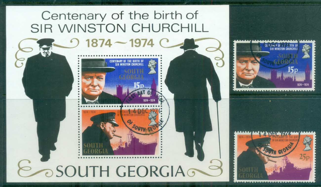 South Georgia 1974 Churchill + MS FU lot77979