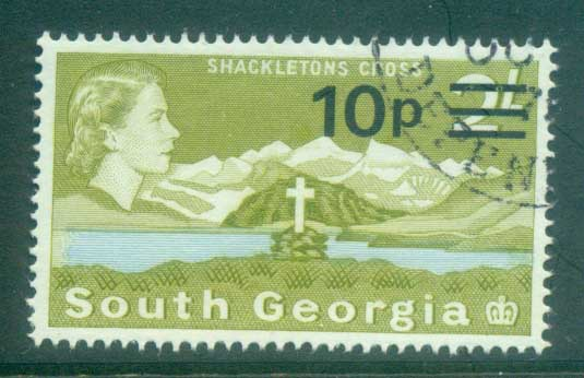 South Georgia 1971-72 QEII Definitives Surcharges 10p on 2/- FU lot77992