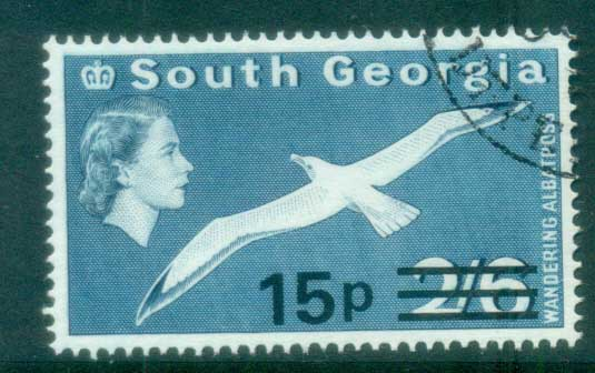 South Georgia 1971-72 QEII Definitives Surcharges 15p on 2/6d FU lot77993