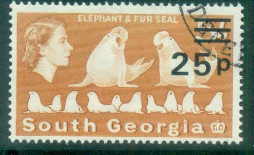South Georgia 1971-72 QEII Definitives Surcharges 25p on 5/- FU lot77994