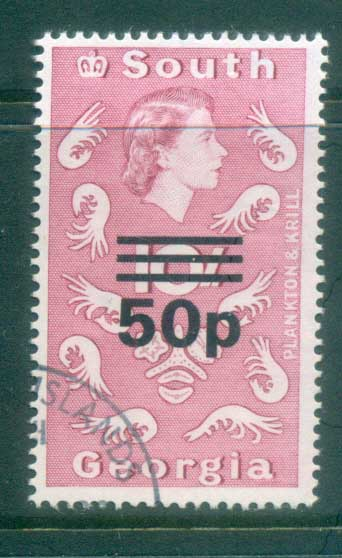 South Georgia 1971-72 QEII Definitives Surcharges 50p on 10/- (ordinary paper)FU lot77995