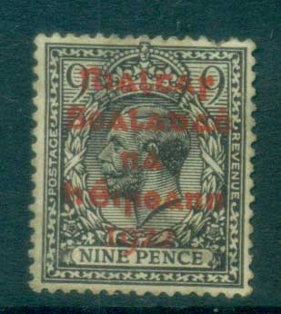 Ireland 1922 9d agate Provisional Opt. Red Dollard FU lot78393