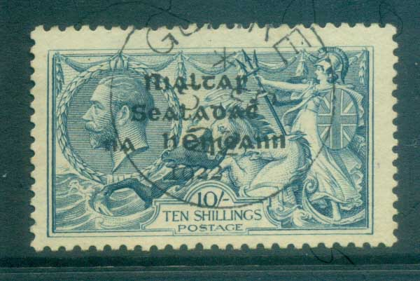 Ireland 1922 10/- dull grey-blue seahorse Provisional Opt. Blk Dollard FU lot78399
