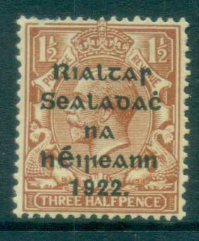 Ireland 1922 1.5d red-brown Provisional Opt. Blk 14.5x16mm Thom MLH lot78408
